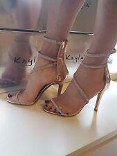 Champagne Diamante Ankle Strap Slim Heel Sandals Sizes UK 3 4 5 6 7 8 / EU 36-41