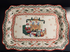 "Temp-tations Old World Holiday Santa Christmas Scene 19 1/4"" Serving Platter"