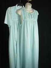 Vintage Vanity Fair Nightgown Gown Robe Peignoir Set ~ Sz Med Seafoam Green USA!