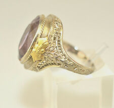 ANTIQUE 14K WHITE & YELLOW GOLD 6 CARAT OVAL AMETHYST FILIGREE RING SIZE 5.25