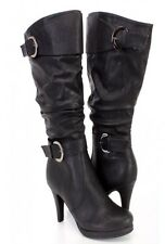 Black Slouchy High Heel Boots Women's Shoes Size 7