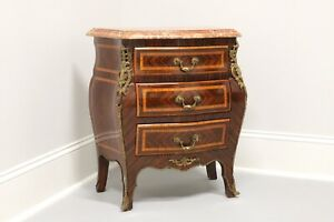Antique French Louis XV Inlaid Parquetry Marble Top Bombe Chest with Ormolu