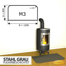 Kaminbodenplatte ✔ Funkenschutz ✔ Ofenplatte ✔ Kaminofenplatte Stahl schwarz M3