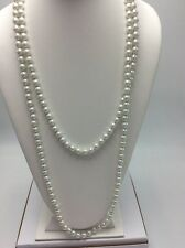 """$40 Ann Klein Long Simulated Pearl Necklace 60"""" #619"""