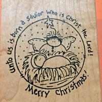 Angel Manger Rubber Stamp Christmas Nativity Baby Jesus Savior  Inky Antics 1998