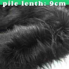 """Black quality Faux fur fabric long pile fur fabric costumes cosplay 60"""" BTY"""