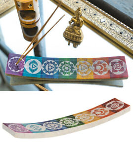 RAINBOW CHAKRA SOAPSTONE INCENSE HOLDER ash catcher handcarved painted fairtrade