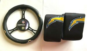 Los Angeles Chargers Car Truck 2 Front Seat Covers & Steering Wheel Cover NFL