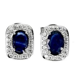 Heated Oval Blue Sapphire Kanchanaburi 7x5mm Cz 925 Sterling Silver Earrings