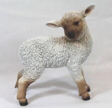 Dekofigur Schaf stehend Lamm, Lämmchen Tierfigur, Türdeko Garten Weiß Braun