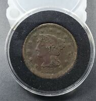 1851 1C Liberty Braided Head Large Cent Copper Coin Very Circulated Full Date