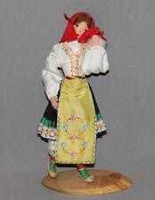 VINTAGE BULGARIAN WOOD/CLOTH WOMAN FOLK COSTUME FIGURINE