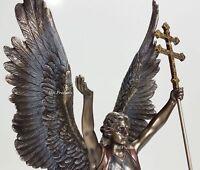 """15"""" ST GABRIEL ARCHANGEL on World BALL CROSS Statue Sculpture Bronze Finish"""