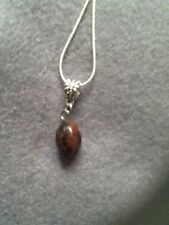 NATURAL MAHOGANY OBSIDIAN  FACETED DRUM GEMSTONE PENDANT+TIBETAN SILVER+NECKLACE