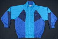 Vintage 90s Nike Turquoise Black Blue Color Block Spell Out Windbreaker Jacket L