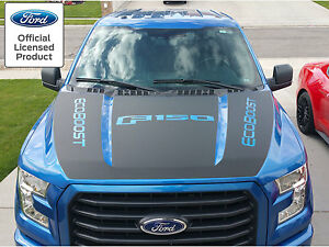 2015 2016 NEW FORD F-150 HOOD BLACKOUT w/ ECOBOOST VINYL GRAPHICS DECAL STRIPES