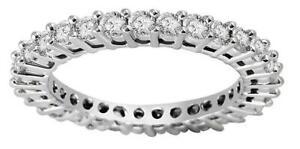 14K White Gold Natural Diamond SI1 G 0.87 Ct Eternity Anniversary Ring Size 6.50