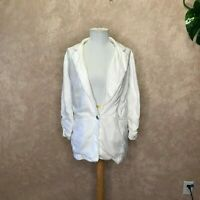 MICHAEL KORS WHITE LINEN BLAZER JACKET SIZE 10 RUCHED SLEEVES Beautiful
