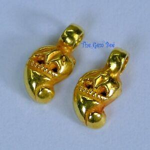 18k Solid Yellow Gold Handmade Paisley Charm Pendant PAIR