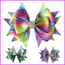 """300 BLESSING 2/"""" Diamond Rainbow Double Bowknot HairBow Clip Unicorn Clover Fruit"""