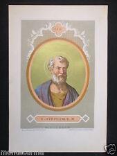 1879 SAN STEFANO STEPHANUS ANTICA STAMPA CROMOLITOGRAFIA PAPA PAPI POPE D246 m