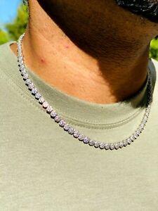 """Men's Women Flower Tennis Link Chain 5mm 14k White Gold Diamond Real 18"""" Choker"""