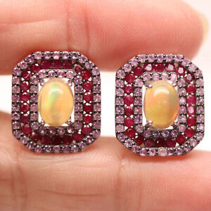 NATURAL 6 X 8 mm. MULTICOLOR OPAL, SAPPHIRE & RUBY 925 STERLING SILVER EARRINGS