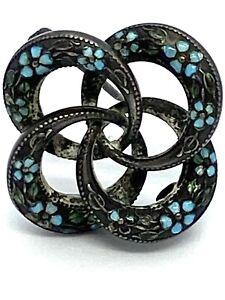 Victorian  Sterling Silver Enamel Pin Brooch