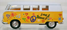 1962 VW Classic Bus  Door Open Pull Back Die Cast 1:32 Yellow, White w/ Flowers