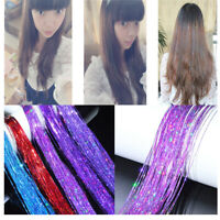 Women Fashion Long Glitter Hair Tinsel Extensions Highlights Shimmer Feather Lot