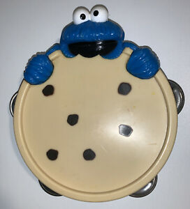 Sesame Street Cookie Monster Tambourine Musical Instrument Kid Toy 1992 Blue Box