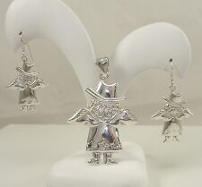 2 Western Style Angels Wings Witch Sterling Silver Earrings Pendant Set of
