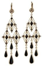 £80 Art Deco Gold Black Tear Drop Chandelier Earrings Swarovski Elements Crystal