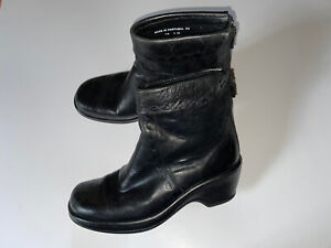 Dansko Black Leather Roll Over Top Zip-Up Ankle Boots (39) 8.5-9