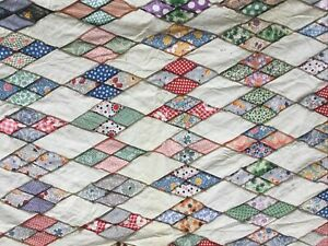 Vintage 1940's Hand Stitched Feed Sack Quilt Top Diamonds 86x70