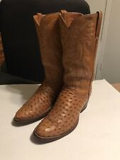 Lucchese Cowboy Mens 9C EXOTIC Full Quill Ostrich Skin Leather Western Boots