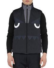 FENDI Monster Face Bug Reversible Puffer Vest Black Gray 54 EU LARGE New Season!