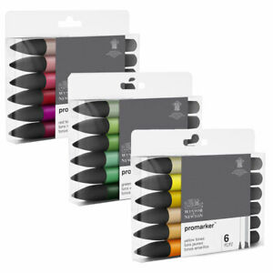 Winsor & Newton Promarker Twin Tip Markers - Green, Red or Yellow Tones 6pc Sets