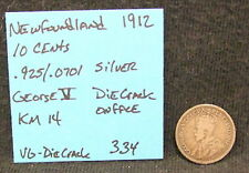 New listing Die Crack Error Coin 1912 Newfoundland 10 Cents Km 14 .925 Silver Coin .0701 Asw