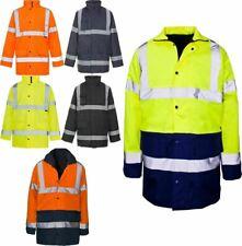Mens Hi Viz Work Wear Standard Parka Adults Long Sleeves Safety Class 3 Jacket