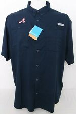 NEW Atlanta Braves Navy MLB Columbia PFG Omni-Shade Tamiami SS Shirt Men's L
