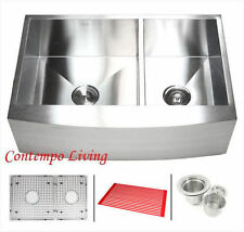 "33"" Curve Apron Farmhouse Kitchen Sink Double Bowl (60/40) with free accessores"