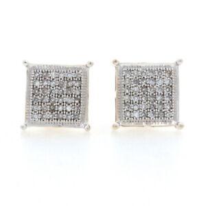 Yellow Gold Diamond Cluster Stud Earrings - 10k Single .25ctw Pierced Screw-Ons