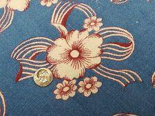 Best Vintage Feedsack Quilt Fabric 40s Blue Burgundy Floral Flour Full Sack