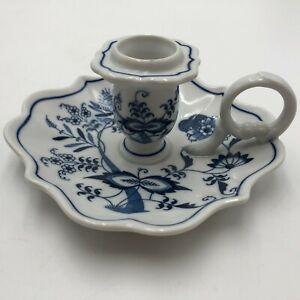 BLUE DANUBE Candlestick Holder Vintage Japan Blue Porcelain 50 years Candle