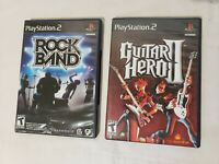 Lot Of 2 PS2 Rock Band 1 And Guitar Hero II Games COMPLETE TESTED Play Station 2