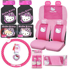 Sanrio Hello kitty Car Seat Covers Pink Poka Dots 16pc Car Auto Accessories Set