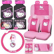 Sanrio Hello Kitty Voiture HOUSSES Rose Poka Dots 16pc Auto Accessoires Ensemble