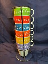 Set of 6 Stacking 8oz Cups Ceramic Mugs with Chrome Rack Bright Pretty Colors