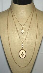 Vintage Arthur Pepper 3 Strand Fleur Di Lis Locket Necklace Signed ART